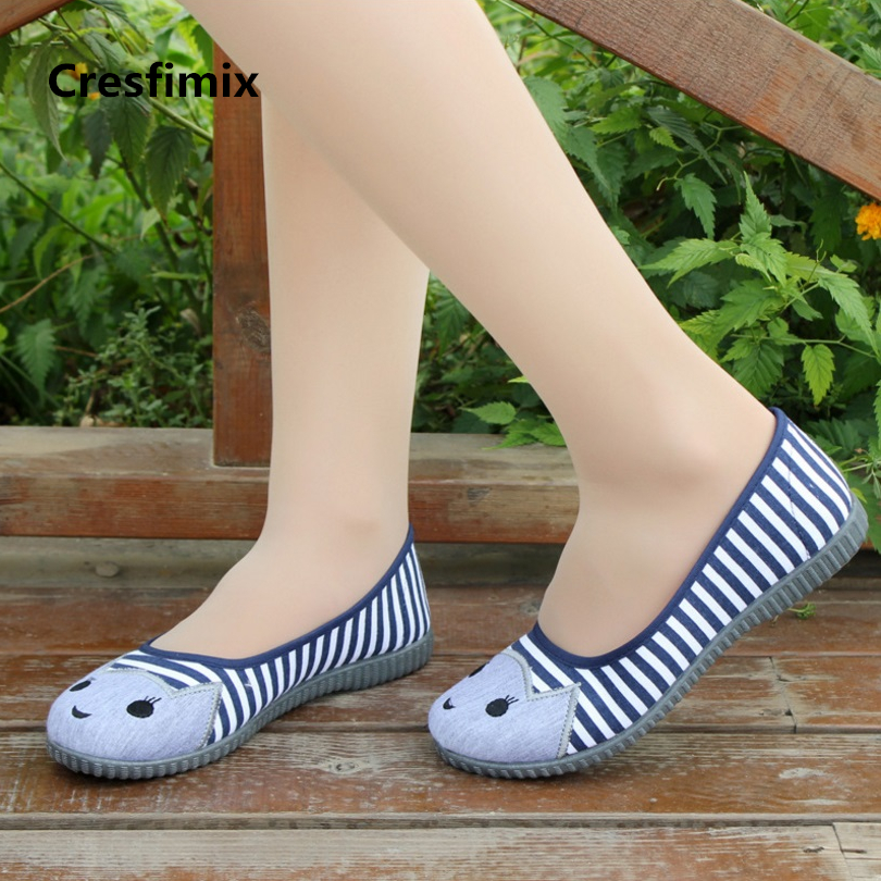Cresfimix femmes appartements women casual cartoon printed soft flat shoes female comfortable summer slip on bendable shoes a192