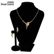купить DreamCarnival1989 Necklace and earrings White Cubic Zirconia Rhodium Gold color Bridal Jewelry Sets Parure Bijoux Femme SN02178 по цене 1335.19 рублей