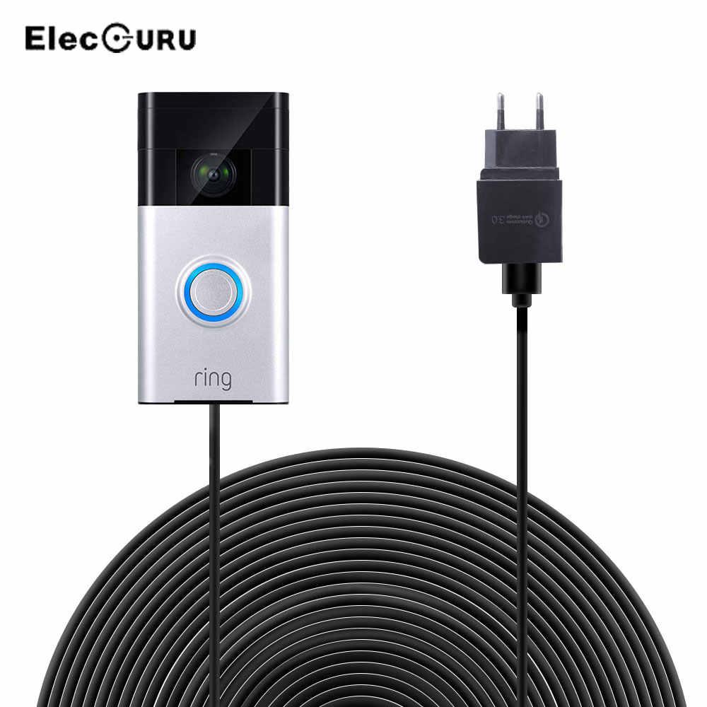 20ft/6M şarj kablosu + Adaptörü Halka Kapı Zili 1 Nesil, uzatma Güç Kablosu  + QC 3.0 Hızlı şarj adaptörü AB/ABD/İNGILTERE Tak Camera Charger