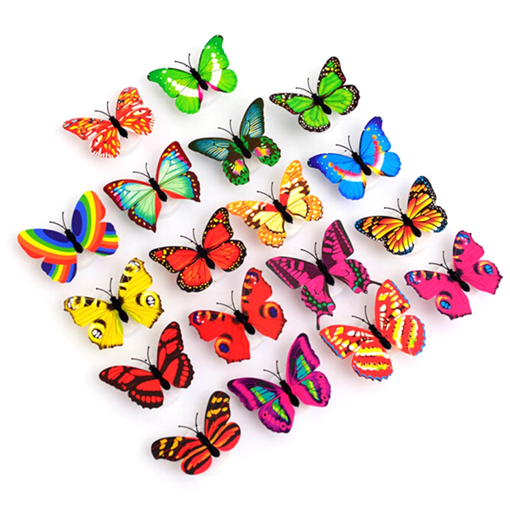 10Pcs Wall Night Lights Decoration Mix Color Butterfly Wall Stickers Night Light Flashing Colorful LED Lamp Home Decor