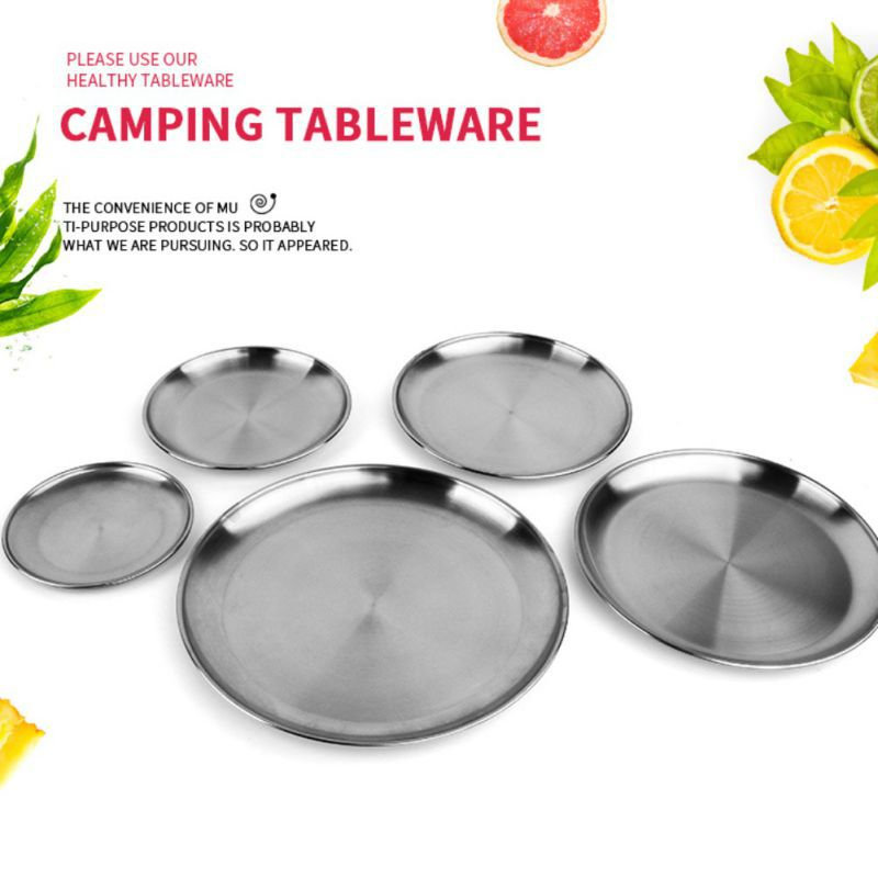 Camping Stainless Steel Tableware Dinner Plate Food Container Holder Dish Round Tray Mess Plate Outdoor Cooking Accessories image