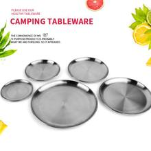 Camping Stainless Steel Tableware Dinner Plate Food Container Holder Dish Round Tray Mess Plate Outdoor Cooking Accessories(China)