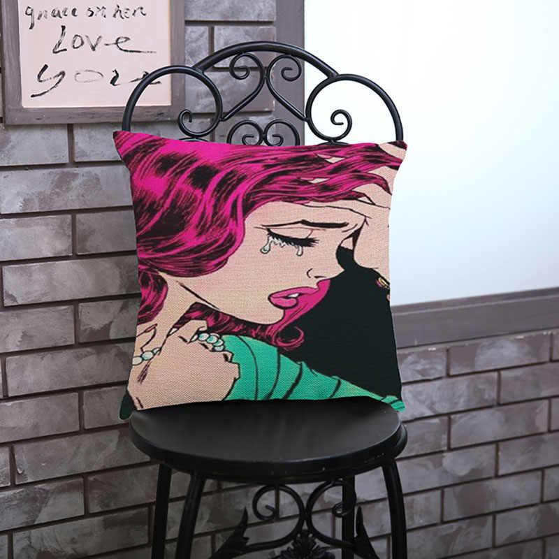 Pop ррт сексуальные губы обувь на высоком каблуке остроумный Для женщин белье хлопок наволочка домашнего галерея диван-кресло украшения Чехлы
