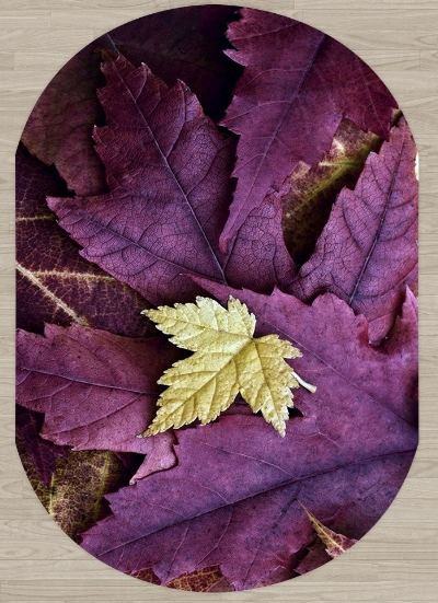 Else Purple Sycamore Leaves On Yellow Leaf Floral 3d Print Non Slip Microfiber Living Room Modern Oval Washable Area Rug Carpet