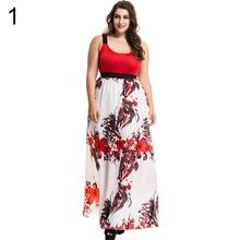 Elegante de la Impresión Floral de las mujeres Sin Mangas Más El Tamaño Largo Maxi Partido Vestido de Noche