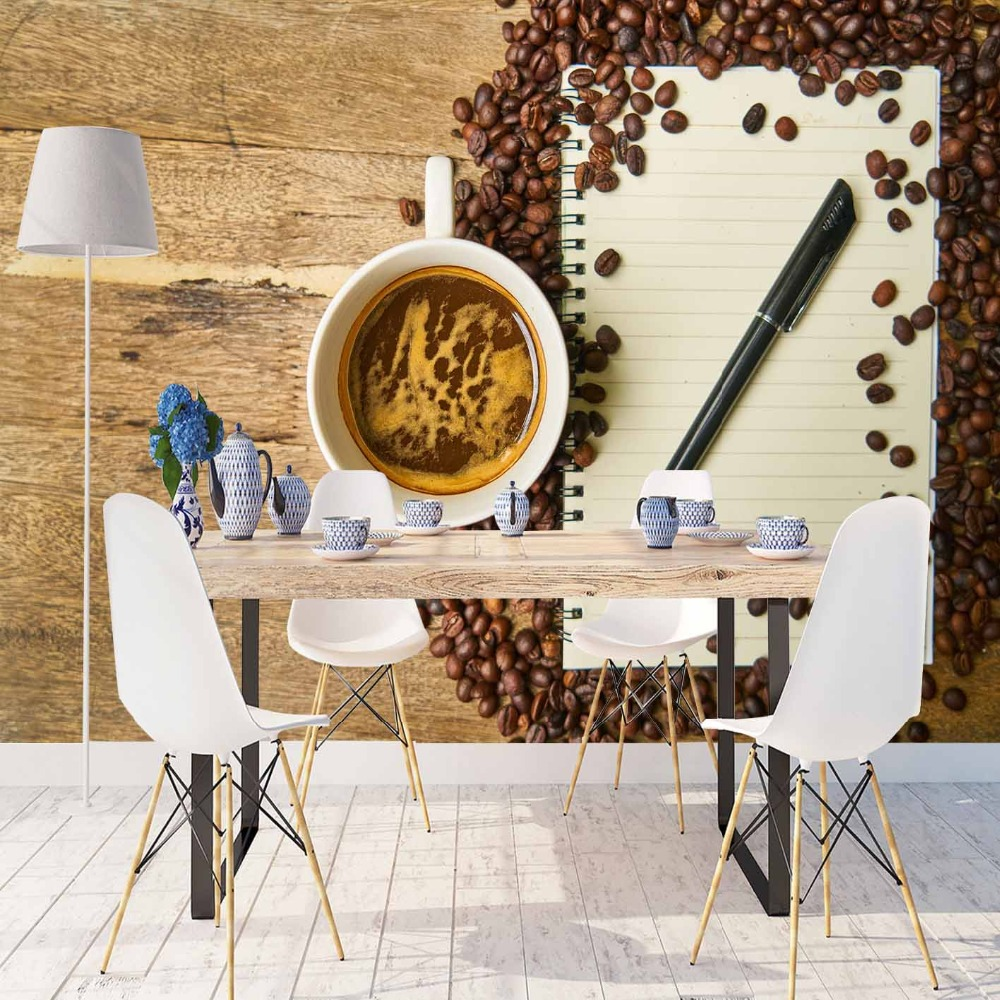 Else Brown Wood On Cup Of Coffee Beans Notebook 3d Print Photo Cleanable Fabric Mural Home Decor Kitchen Background Wallpaper