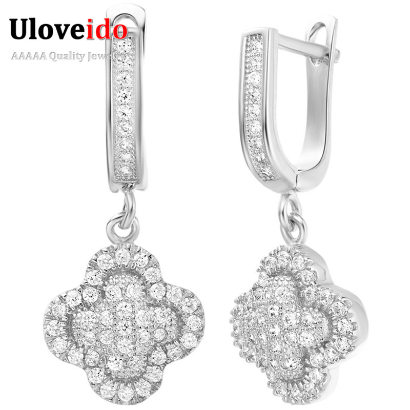 Uloveido Silver Color Jewelry Flower Earrings For Women Jewellery Wedding Fashion Drop Dangle Korean Earring Party Anel R237