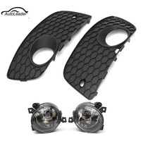 2Pcs Car Front Driving Fog Light Lamp Assembly Left Right Bumper Lower Grille Cover For VW