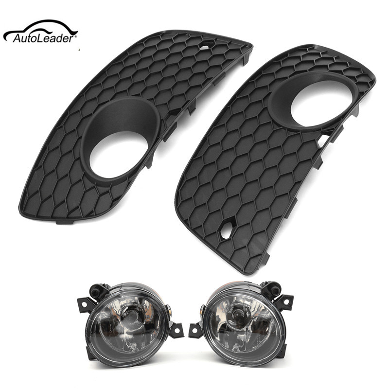 2Pcs Car Front Driving Fog Light Lamp Assembly Left & Right + Bumper Lower Grille Cover For VW Jetta GTI MK5 hot sale abs chromed front behind fog lamp cover 2pcs set car accessories for volkswagen vw tiguan 2010 2011 2012 2013