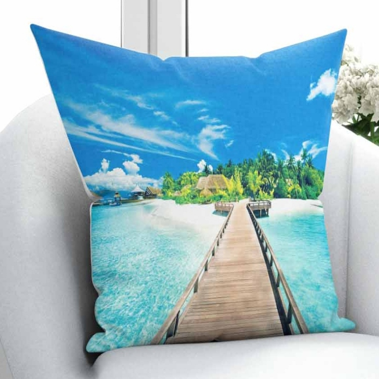 Else Tropical Green island Blue Sea Wooden Brown Bridge 3D Print Throw Pillow Case Cushion Cover Square Hidden Zipper 45x45cm Pillow Case     - title=
