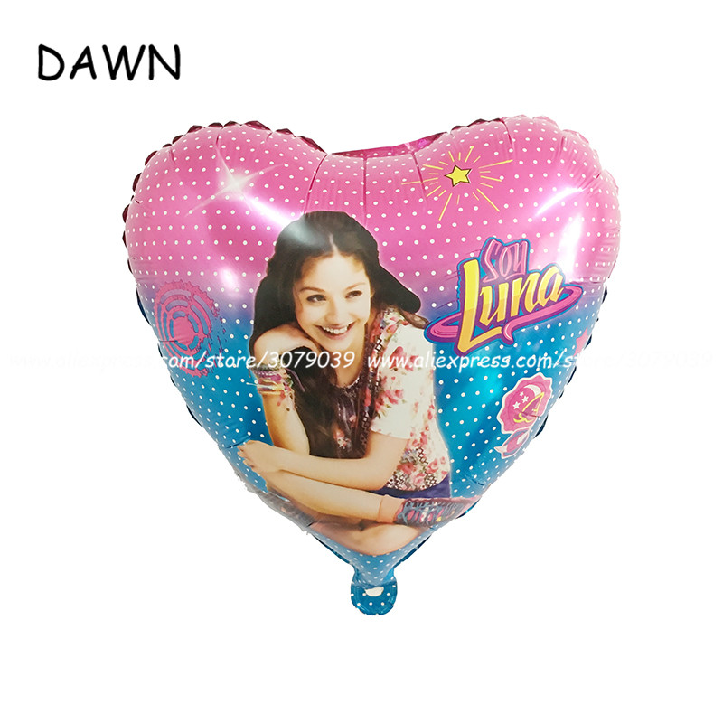 10pcs 18inch Soy luna Foil Balloons Heart Shape Cartoon Air Ballons Baby Birthday Party Decorations Helium Balloons Kids Toys