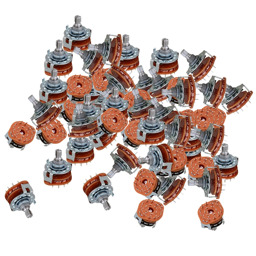 Yibuy Channel Band Rotary Switch Selector 2-Pole 6-Position Pack of 100 uxcell kcx2 6 10mm mounting hole dia 2p6t 2 pole 5 way two decks 14pin band channael rotary switch selector