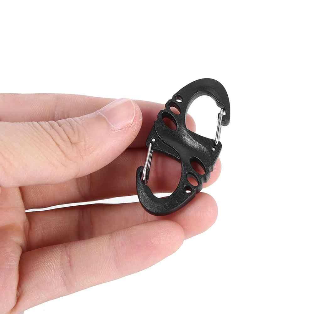 8 S Forma mosquetão Pressão Clipe Acampamento Ao Ar Livre Mochila Molle Cabide Fivela Anel Chave Chaveiro Liberação Rápida Ferramentas Ao Ar Livre