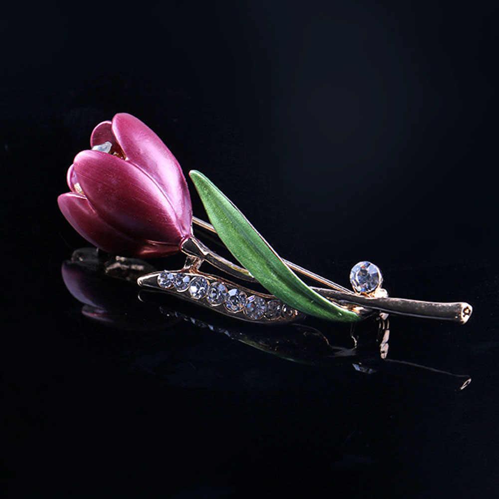New Dekorasi Kristal Bros Pin Garment Accessories Perhiasan Tulip Tulip Bros Wanita Bunga Pernikahan Bros Perhiasan