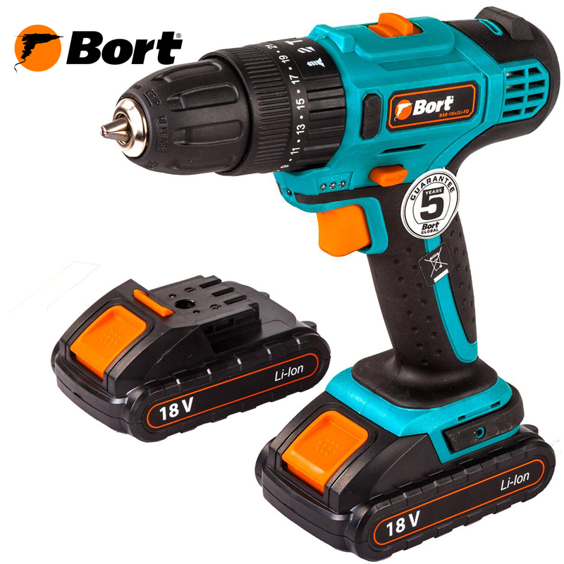 18V Bort Li-Ion Lithium Battery Hammer Electric Drill Cordless Screwdriver Mini Drill Cordless Screwdriver Power Tools Cordless Drill BAB-18Ix2Li-FD li ion battery electric cordless screwdriver set led light indicator and multi bits sockets