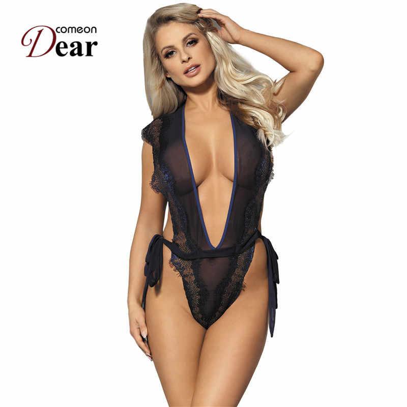 797df436b0 Comeondear Women Body Lace Eyelash Bodysuit Women Navy Blue Deep V Neck  Chiffon Transparent Bodysuit Bodis
