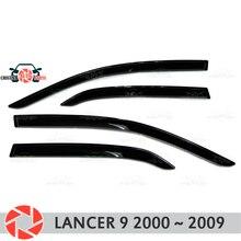 Окна отражатель для Mitsubishi Lancer 9 2000-2009 Дождь Отражатель грязь защиты Тюнинг автомобилей украшения аксессуары для литья