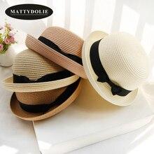 цена на MATTYDOLIE wholesale Hat for kids Summer Hat Bow tie Women Men Straw Hat Collapsible Beach Sun Hat girls and boys