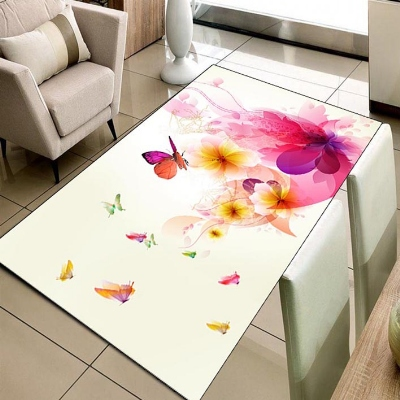 Else White Pink Flowers Yellow Floral Butterfly 3d Print Non Slip Microfiber Living Room Decorative Modern Washable Area Rug Mat