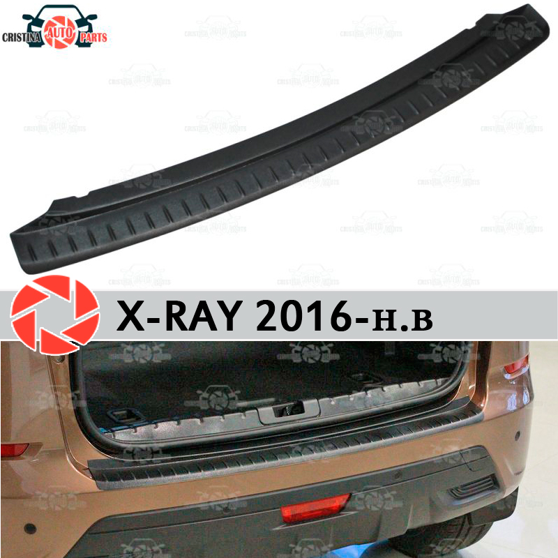 For Lada X-Ray 2016- guard protection plate on rear bumper sill car styling decoration scuff panel accessories s25 1156 ba15s p21w car led light bulb 13 smd 5050 brake rear turn signal light bulb leds lamp 12v white red car styling