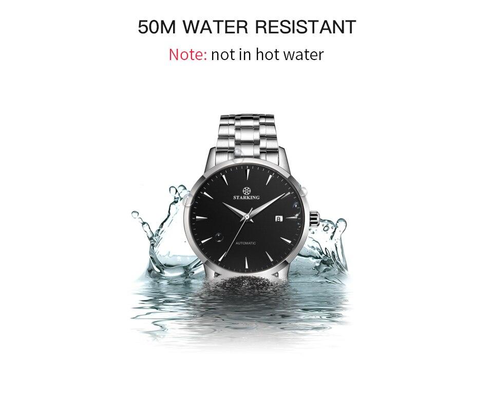 UTB8FOo2M9nEXKJk43Ubq6zLppXaH STARKING Mens Clock Automatic Mechanical Watch All Stainless Steel Simple Business Male Watch xfcs Luxury Brand Dress WristWatch