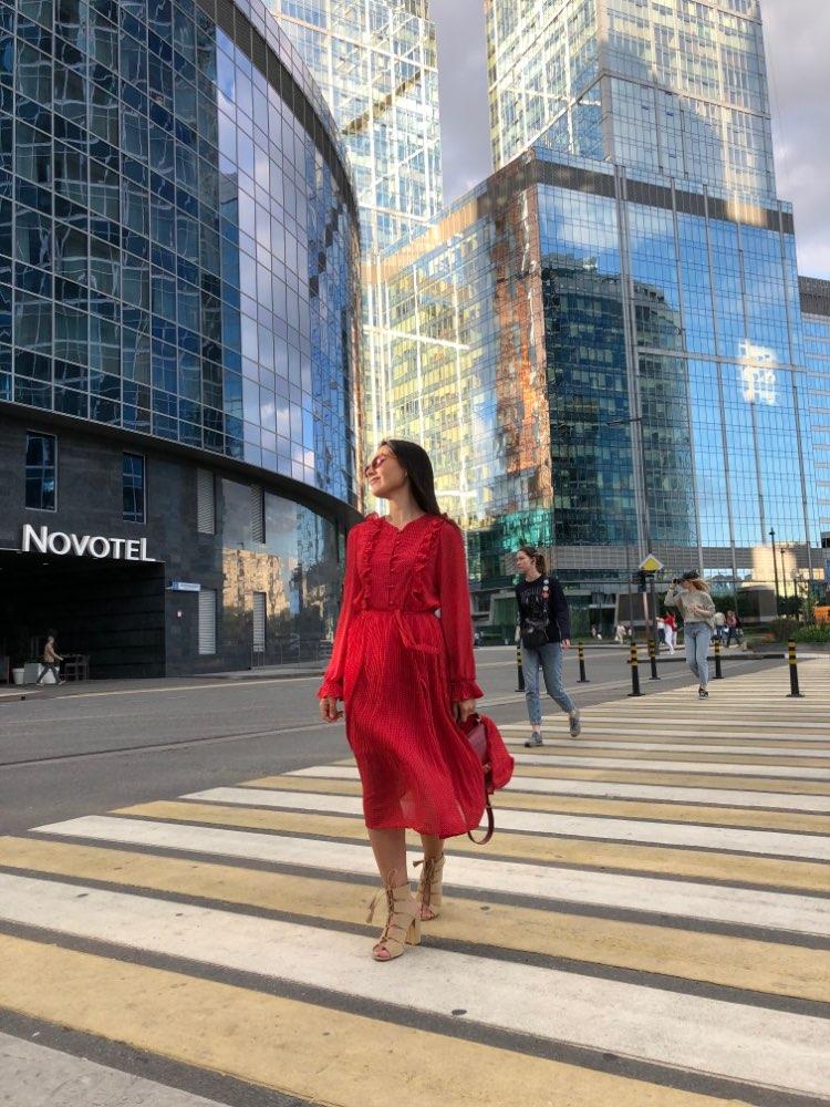 Women Spring Chiffon Dress New Long Sleeve Vintage Dot Print Lotus Leaf Pleated Long Robe Woman Casual Dresses photo review