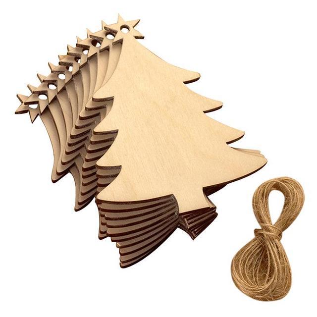 ba4c894cd873 10 piezas de madera árbol adornos de Navidad colgante de fiesta boda  cumpleaños decoración juego de