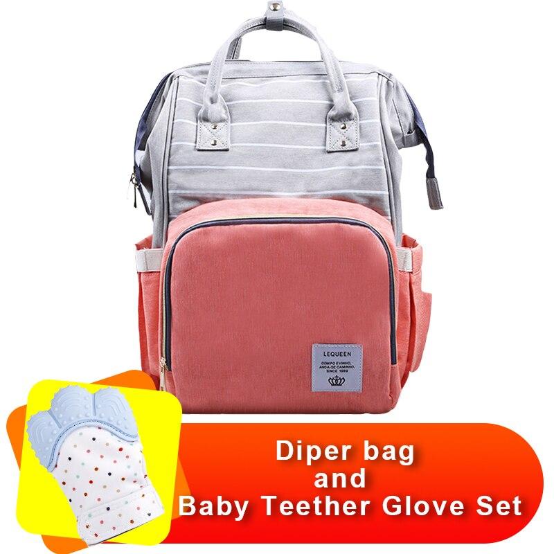 Designer Nursing Care Baby Bag And Baby Teether Glove Set Lequeen Stripe Diaper Bag Backpack Organizer Waterproof Patchwork Bag прыгунки baby care aero raspberry stripe