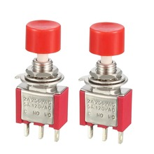 UXCELL 6mm Mounting Hole Red Momentary Push Button Switch DPDT NO OR NO-NC Switch Accessories Electrical Equipment Supplies 2pcs metal case momentary push plunger limit switch no nc spdt 5a ith