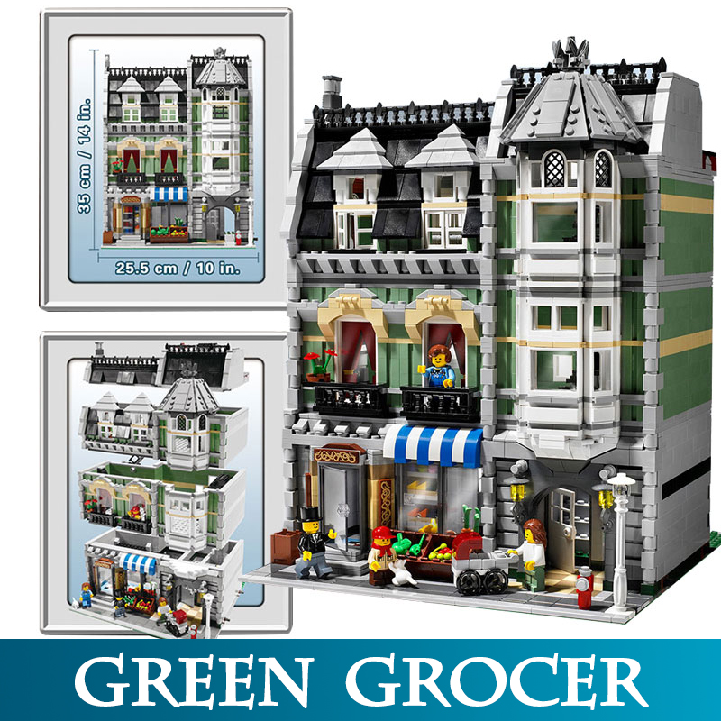 City Street 15008 2462pcs Mini Green Grocer Model Building Kits Blocks Bricks Toys For Children Compatible LegoED 10185 цена