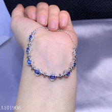 KJJEAXCMY Fine Jewelry 925 sterling silver inlaid natural sapphire female bracelet support review new luxury luxurious natural sri lanka sapphire bracelet 2 ct natural blue sapphire gemstone bracelet solid 925 sterling silver bracelet