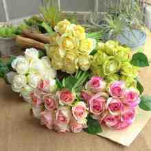 1pc/lot 11 heads/Bouquet Best Selling romantic silk artificial wedding bouquets flowers bridal 2018 cheap for birthday