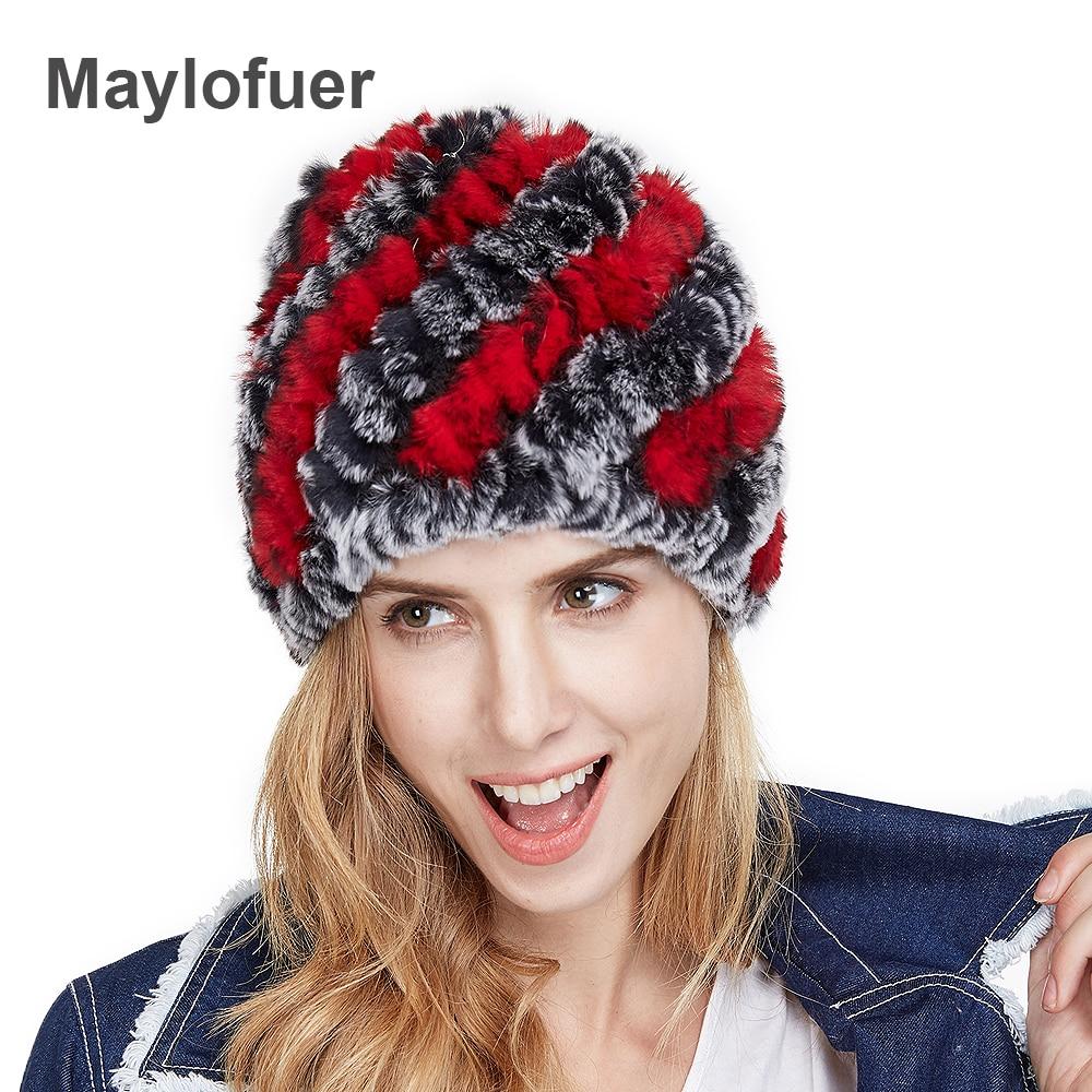 Descuento grande nuevo estilo genuino del conejo de Rex de punto sombrero  de piel Natural conejo Fur Caps moda mujeres gorros sombrero varios colores 29e031e3f82