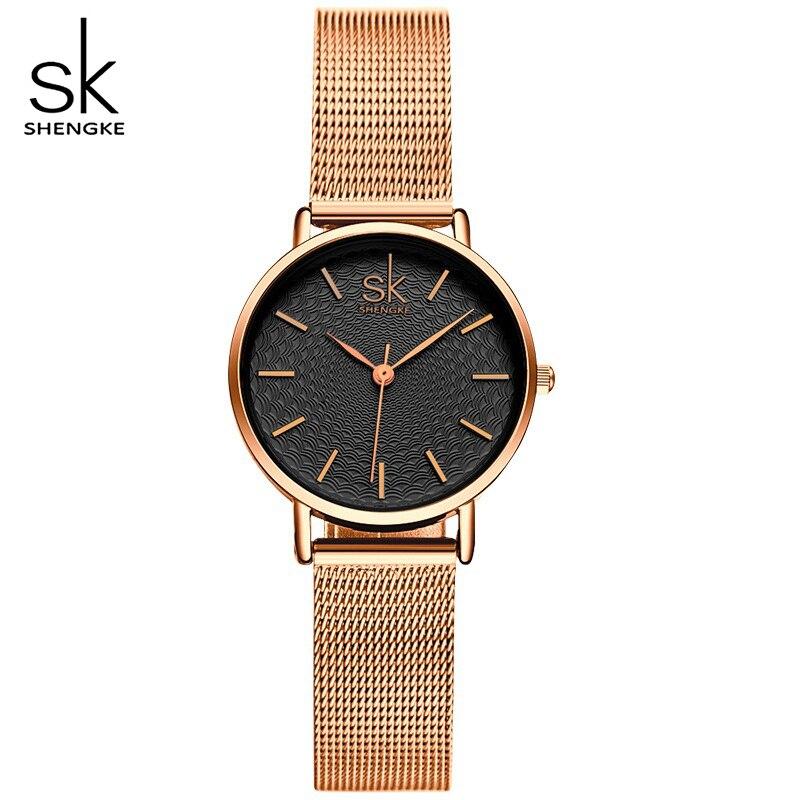Relojes de lujo para mujer, marca SHENGKE, reloj de cuarzo informal, relojes de pulsera para mujer, reloj femenino, relojes de pulsera para mujer