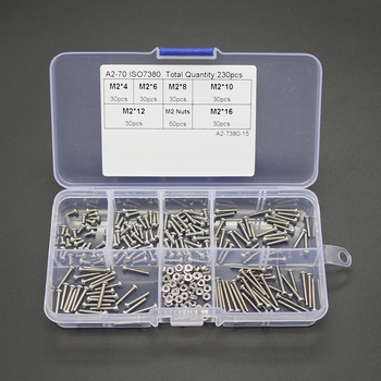 230X M2 Stainless Steel 304 Hex Socket Button Head Screws Bolts Nuts Kit W/ Box