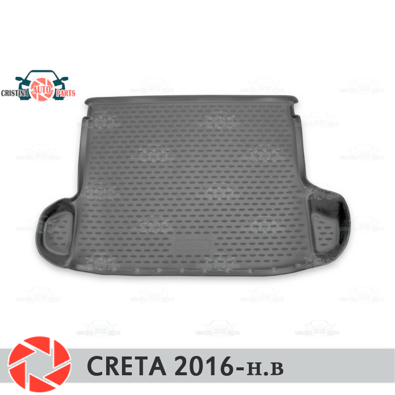 Trunk mat for Hyundai Creta 2016- trunk mat floor rugs non slip polyurethane dirt protection interior trunk car styling