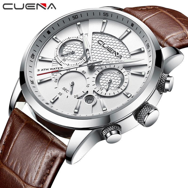 CUENA Watch Classic Leather Men Functional Sport Waterproof Quartz Wristwatch Calendar Clock Business Watch Relogio Masculino