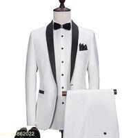 Индивидуальный заказ белый свадебный костюм + брюки комплект дружки Slim Fit пиджак мужской индивидуальный заказ смокинг костюмы костюм для вы