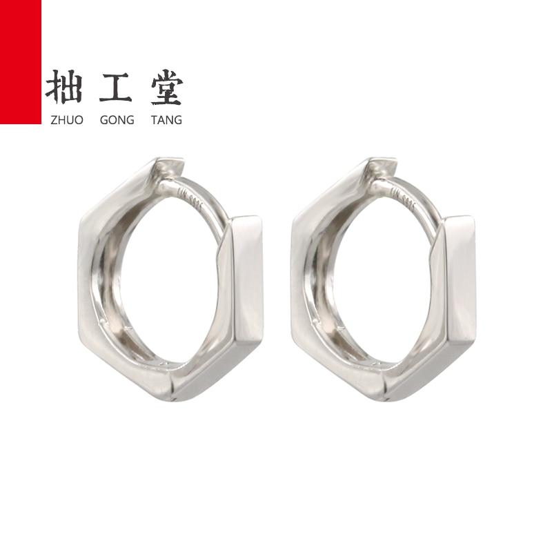 ZHUOGONGTANG 925 Sterling Silver Simple Female Hoop Earrings Jewelry for Women Y7ER1983