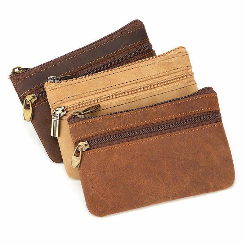 a1fbe845f58e ... GENODERN Винтаж Crazy Horse кожа для мужчин портмоне пояса из  натуральной кожи кошелек для монет на