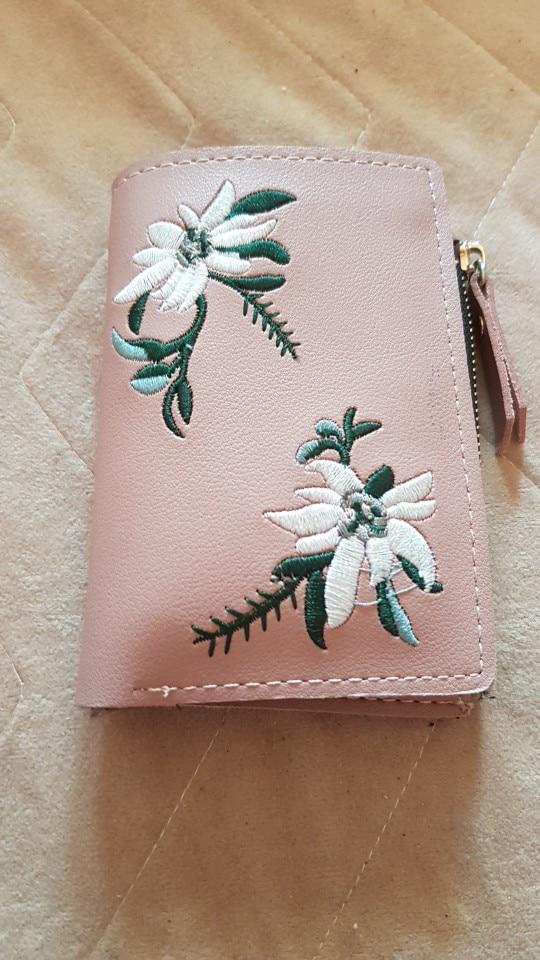 New Fashion Wallets Women Embroidery Flower Zipper Short Wallet Coin Purse Card Holders Handbag Hasp Handbag Wallet For Women photo review