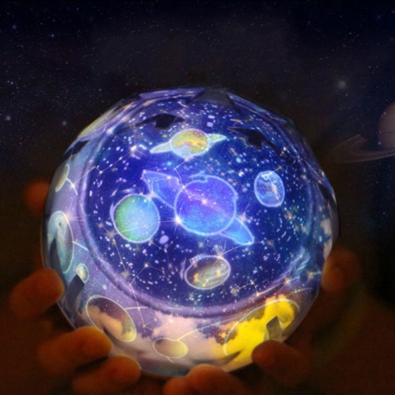 USB Battery-powered LED night light Star Space Star Moon Earth Rotation Projector 3 Brightness Adjust Children's Gifts Kids Lamp