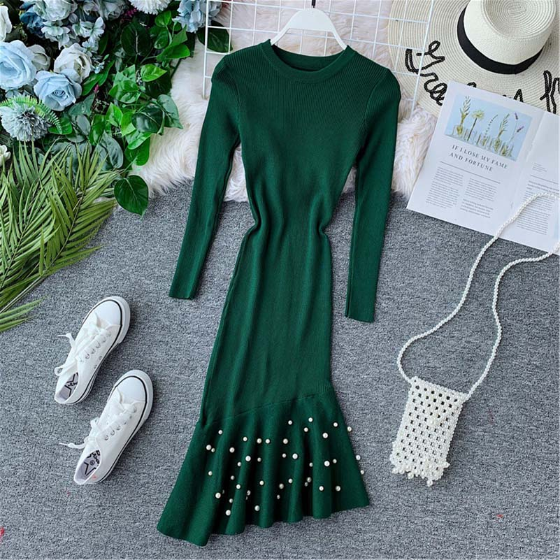 2019 Autumn Winter Warm Sweater Dress Women Office Pencil Sexy Slim Black Bodycon Dress Female O neck Long Sleeve Knitted Dress in Dresses from Women 39 s Clothing