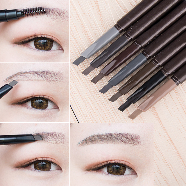 Nuevo lápiz de cejas de 5 colores Natural impermeable giratorio automático delineador de ojos lápiz de cejas con cepillo herramienta cosmética de belleza TSLM2