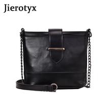 JIEROTYX European women shoulder bag chain handbag 2019 crossbody bags for messenger black leather Drop shipping