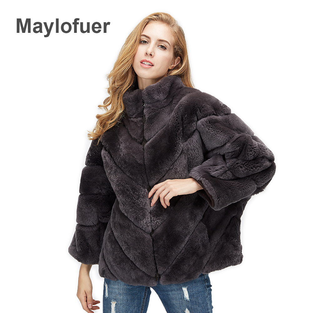 Maylofuer 100% Real Rex Rabbit Fur Coat Women Warm Bat Style Full Leather Fur Stand Collar With Zipper Winter Fur Garment