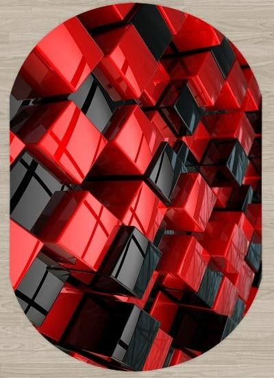 Else Black Red Cubes Boxes Abstract Decor 3d Pattern Print Non Slip Microfiber Living Room Modern Oval Washable Area Rug Carpet|Carpet| |  - title=