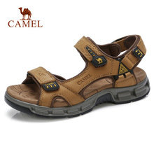 CAMEL New Men Genuine Leather Outdoor Sandals Casual Anti-Collision Durable Waterproof High Quality Beach Fishing Sandals