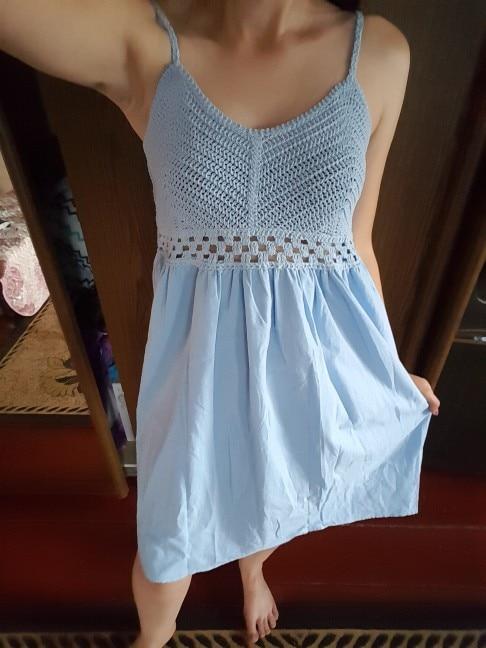 Fashion Women'S Dresses Fresh Openwork Knit Stitching V Neck Strap High Waist Dress photo review