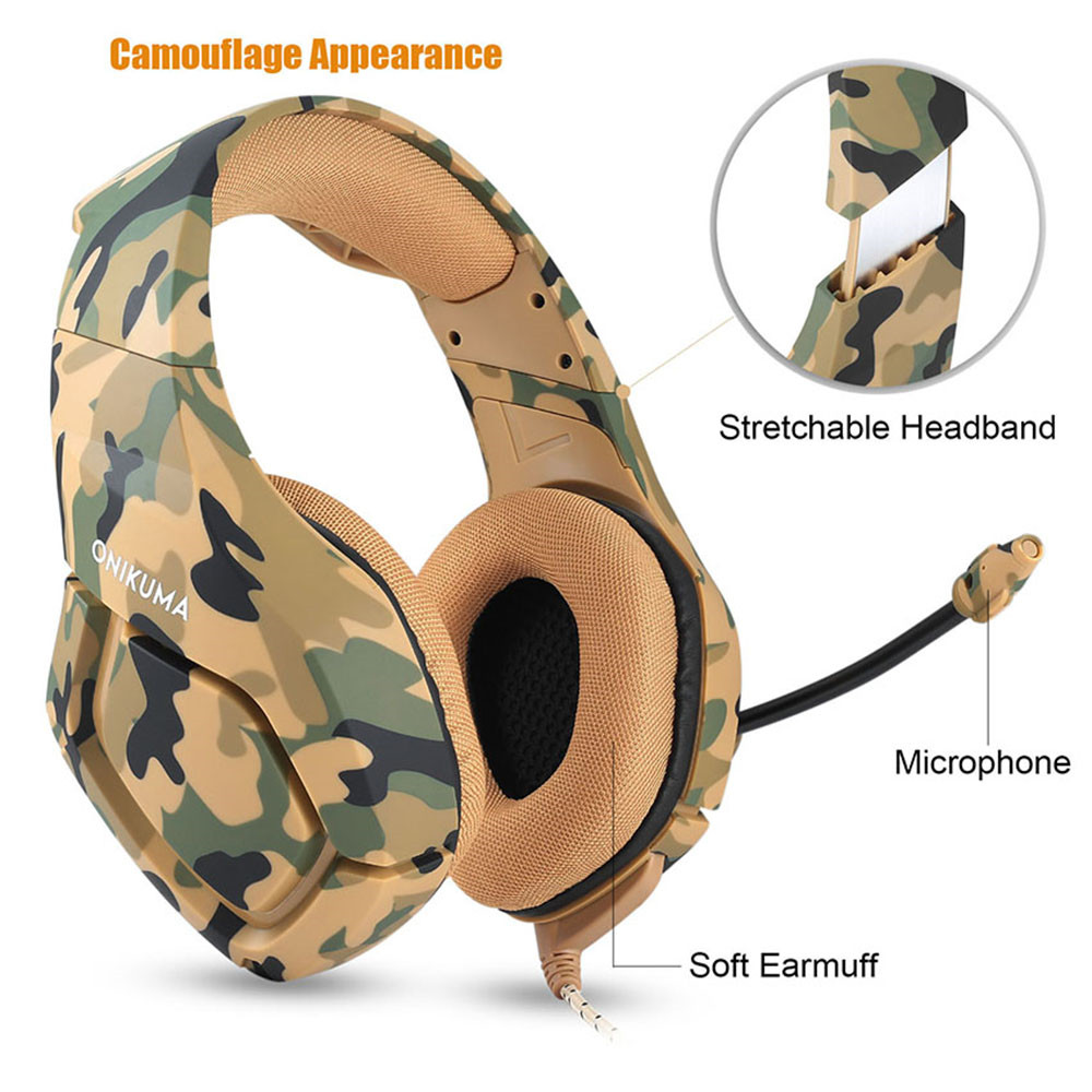 ONIKUMA K1 Casque Camouflage PS4 Headset with Mic Stereo Gaming Headphones for PC Cell Phone New Xbox One Laptop (11)